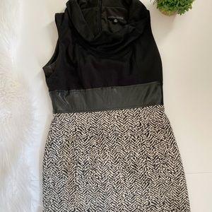 Sandra Darren Two Toned Mock Neck Sheath Dress